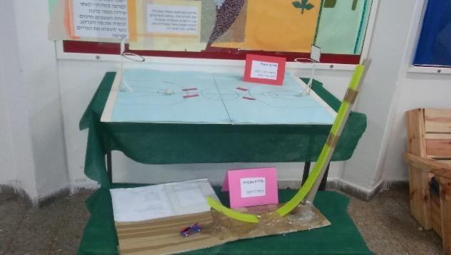 שולחן המציג עבודות של תלמידים